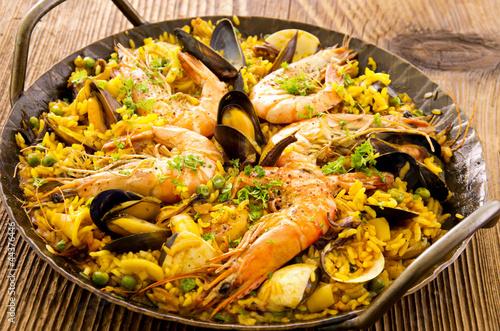 In de dag Barcelona Paella mit Meeresfrüchten