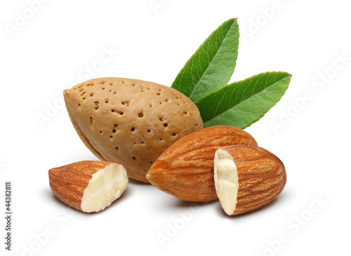 Fototapeta Almonds with leaves isolated on white background obraz