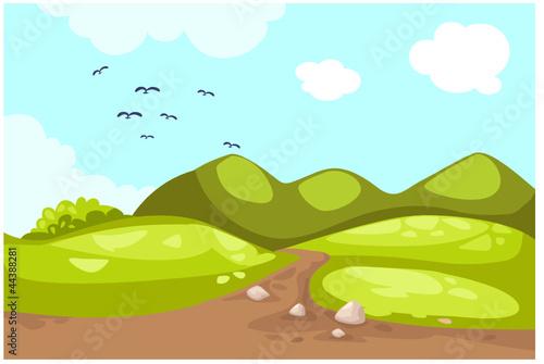 Poster Oiseaux, Abeilles Meadow landscape