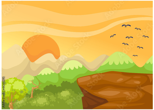 Poster Oiseaux, Abeilles landscape cliff in the jungle