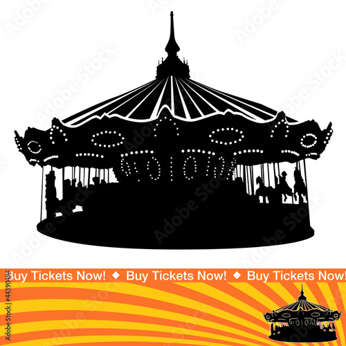 Fotografie, Obraz  Carousel Ride Silhouette