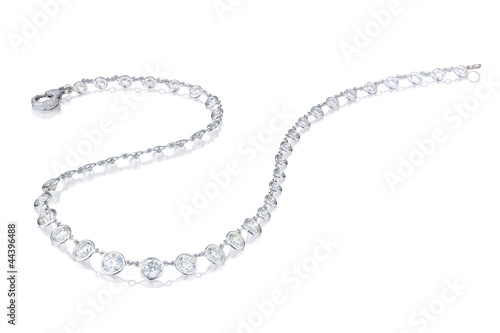 Leinwand Poster  Diamond  necklace on a white background