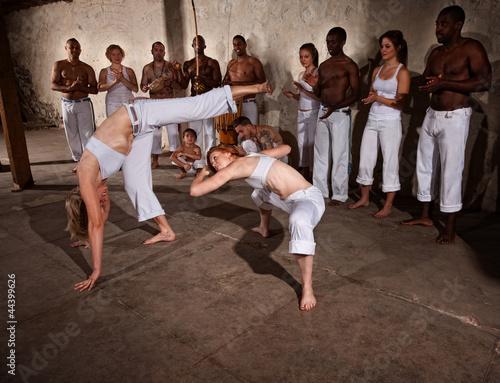 Foto-Stoff bedruckt - Capoeria Fighters Kicking and Dodging (von Scott Griessel)