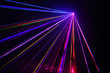 canvas print picture - Lot of beautiful multi-colored laser beams in dark at disco.