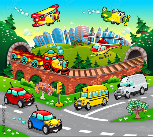 Foto op Plexiglas Vliegtuigen, ballon Funny vehicles in the city. Cartoon and vector illustration.
