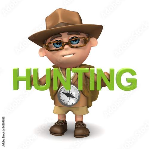 """Photo  3d Adventurer with the word """"Hunting"""""""
