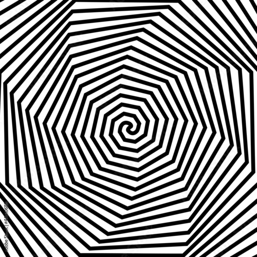 Aluminium Prints Psychedelic Black and white hypnotic background.