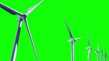 Wind Turbines (Loop On Green Screen)