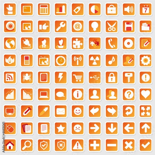 81 Web Icon Internet Business Button Set - rot orange - schatten Canvas Print