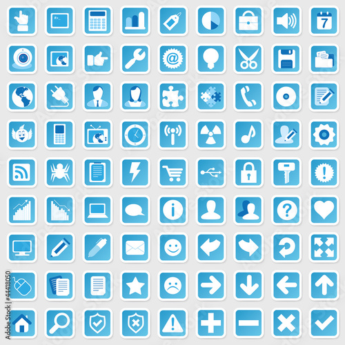 Photo  81 Web Icon Internet Business Button Set - blau - schatten