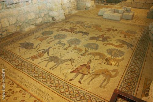 Fotobehang Oude gebouw Anicient Mosaics work at Moses Memorial Church Mount Nebo Jordan