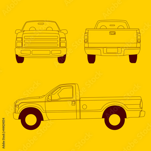 Pick Up Truck Line Illustration Buy This Stock Vector And