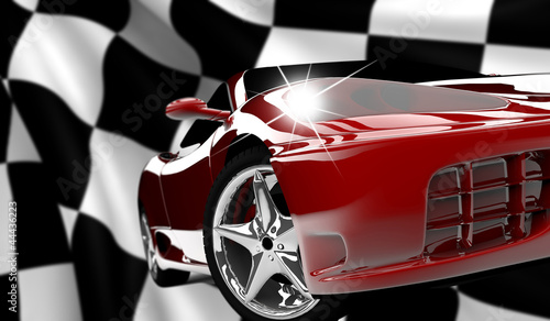 Acrylic Prints Red, black, white Red car on a checkered flag
