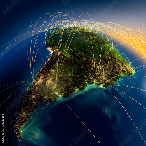 Main air routes in South America Canvas