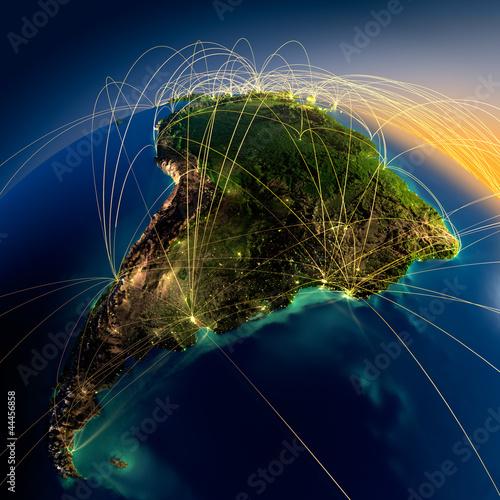 Main air routes in South America Fotobehang