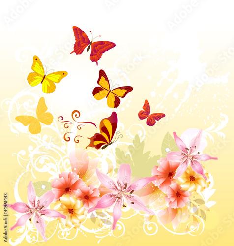 Tuinposter Cartoon floral greeting card design