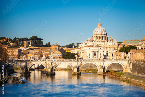 Foto op Aluminium Rome Tiber and St. Peter's cathedral, Rome