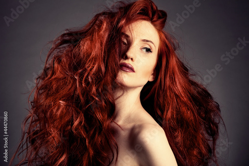 Fotografia Red Hair. Fashion Girl Portrait