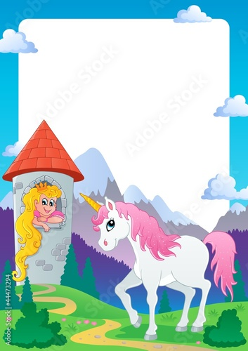 Deurstickers Pony Fairy tale theme frame 4