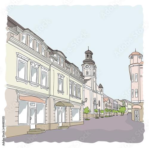 Foto auf AluDibond Gezeichnet Straßenkaffee Street in the old town. Vector illustration.