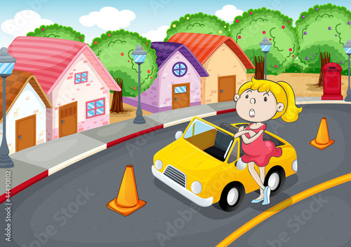 Photo sur Toile Voitures enfants a girl with car
