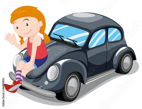 Foto op Canvas Cars girl sitting on car