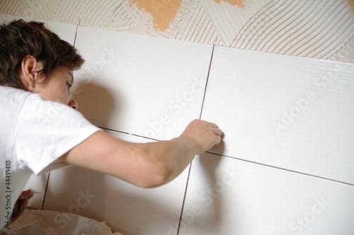 pose de carrelage mural - faïence Canvas Print