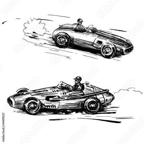 Naklejka premium zabytkowe samochody wyścigowe