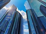 Blue business buildings