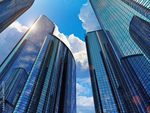 Fototapeta  Blue business buildings