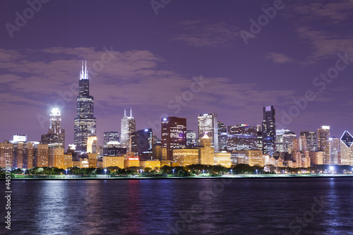 Fototapety, obrazy: financial district (night view Chicago)