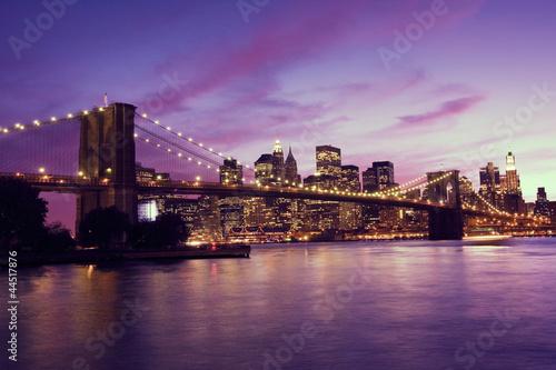 Foto op Aluminium New York Brooklyn Bridge and Manhattan at sunset, New York