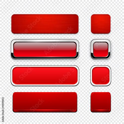 Poster  Rot hoch detaillierte moderne Web Buttons.