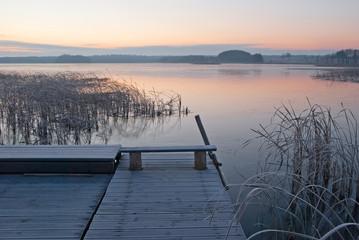 Sunrise over the lake. Masuria.