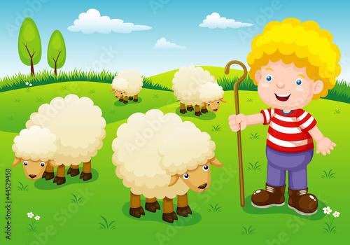 Spoed Foto op Canvas Boerderij illustration little shepherd vector