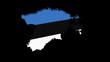 Estonia map flag rotating on black animation