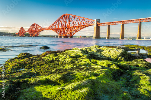 Fotobehang Brug Coast at low tide near the Firth of Forth Bridge in Scotland