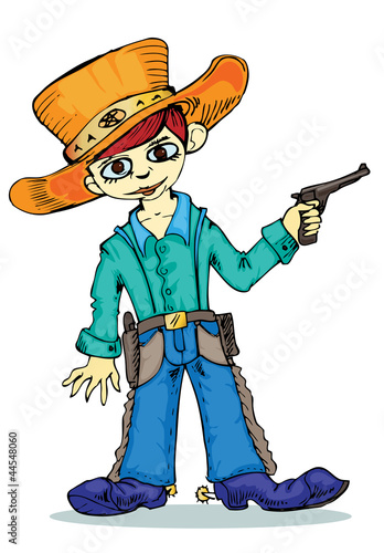 Deurstickers Wild West little cowboy