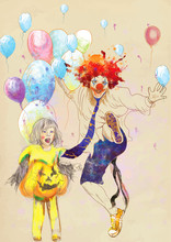 Happy Girl And Lucky Clown