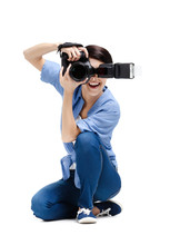 Woman-photographer Takes Images, Isolated On A White