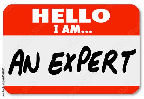 Láminas  Hello I Am an Expert Nametag Expertise Tag