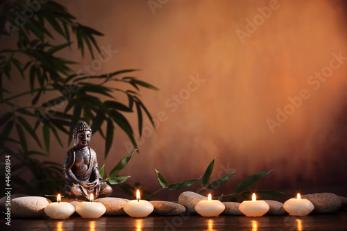 Recess Fitting Zen Buddha with burning candle and bamboo