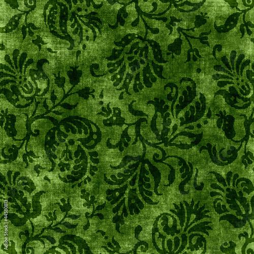 Fotografie, Obraz  Vintage Green Floral Tapestry