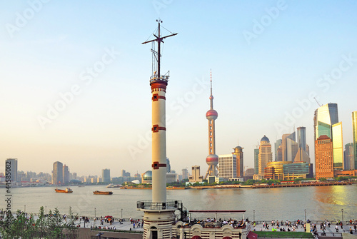 Shanghai the Meteorological Tower and Pudong skyline at sunset. Wallpaper Mural
