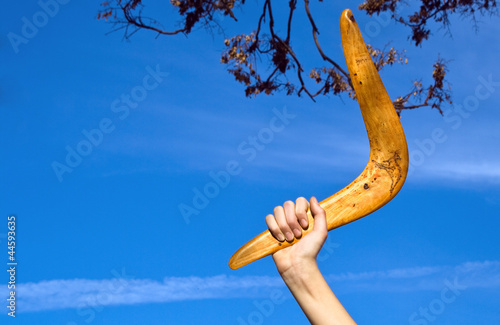 Boomerang in front of a blue sky Wallpaper Mural