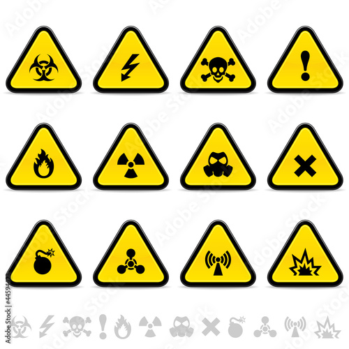 Fotografie, Obraz  Set of warning triangles