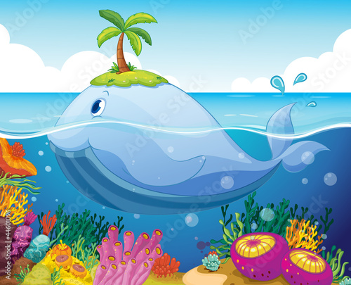 Poster Submarine fish, island and coral in the sea