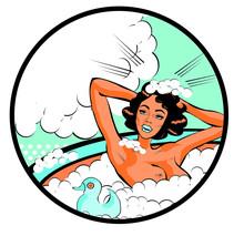 Retro Woman In The Bath Nude W...