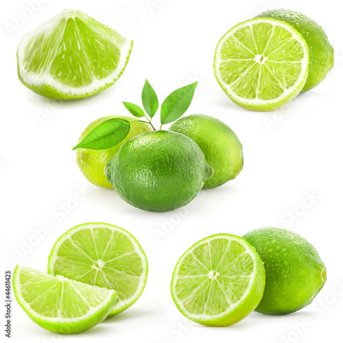 Fotografie, Obraz  Collection Fresh lime and slice, Isolated on white background