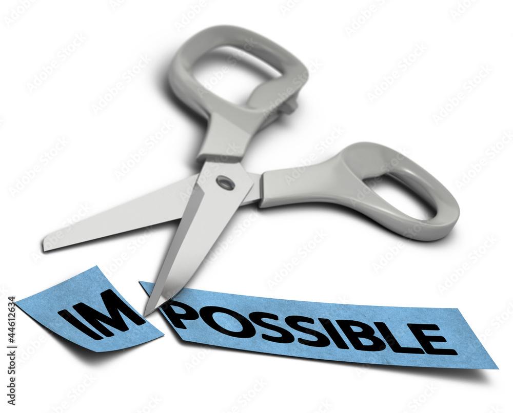 Fototapeta impossible vs possible, volonté et réussite